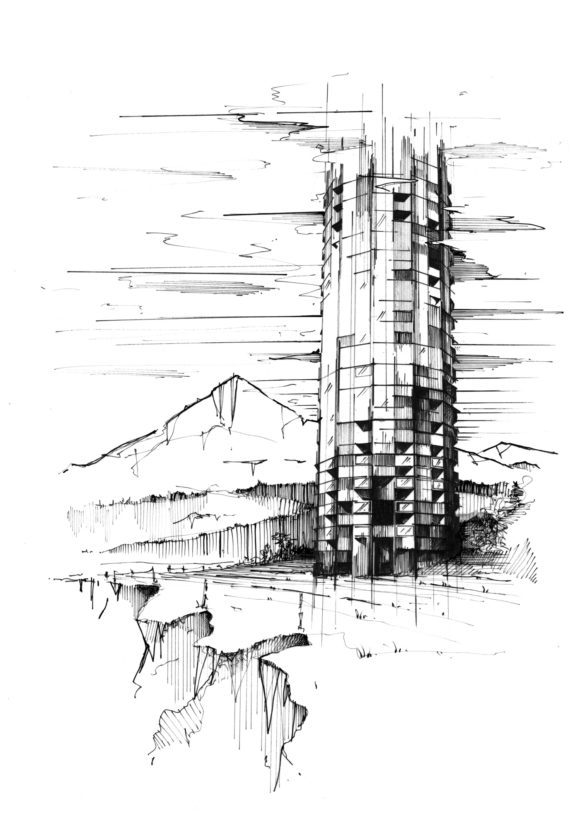 Illustration Pr Sketch Tower